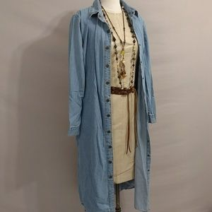 Denim Coat Dress Brass Snaps 100 Cotton Blue Jean